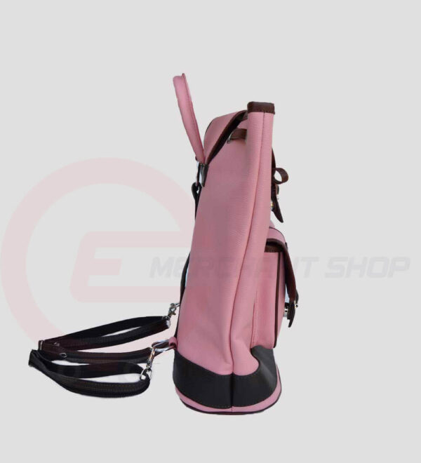 Women-Leather-Backpack-Pink-side-view