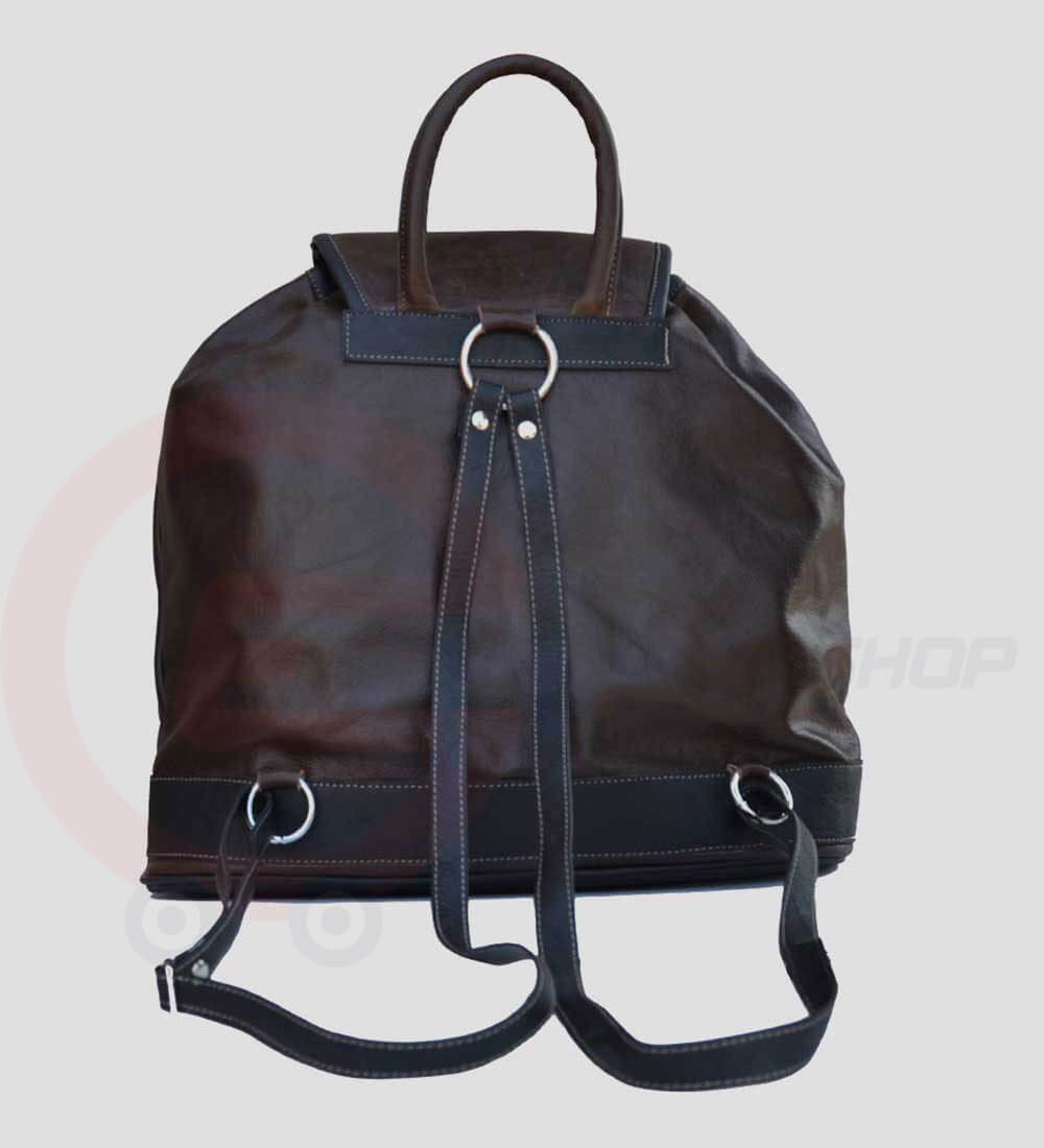 Womens Leather Travel Backpack back