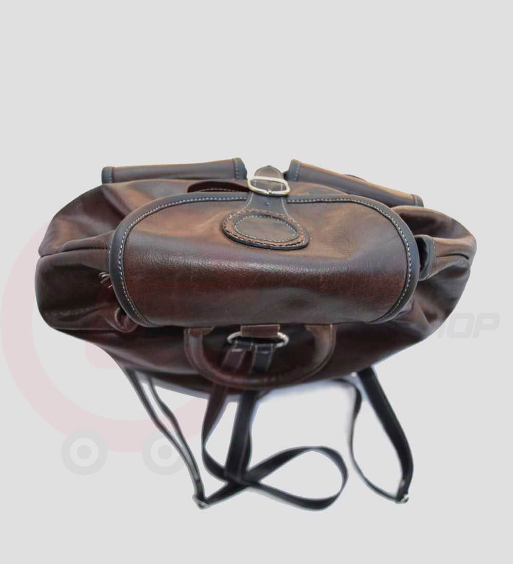 Womens Leather Travel Backpack laying